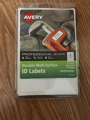 "Avery® Permanent Durable Multi-Surface ID Labels, 61521, 3/4"" x 1 3/4"", White, P"