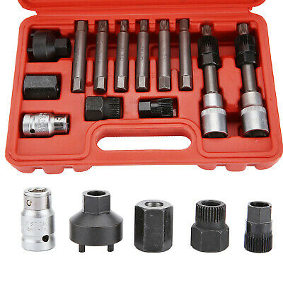 UK 13Pcs Alternator Freewheel Pulley Removal Socket Bit Garage Service Tool Kits