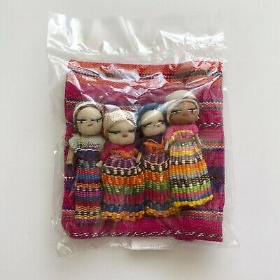 NEW 4 Guatemalan Worry Dolls in POUCH - Hand Made Trouble Doll with Bag