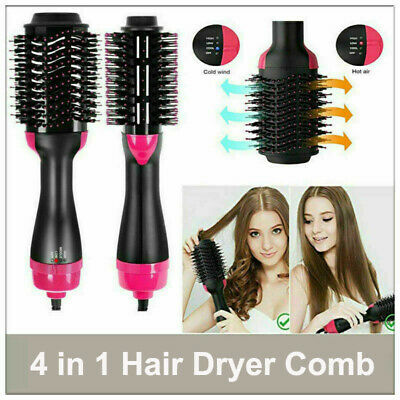4 in1 One Step Hair Dryer Comb & Volumizer Pro Brush Straightener Curler AU Plug