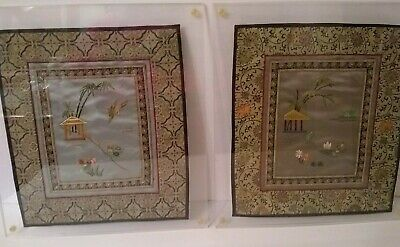 Pair of Silk Embroidery Asian Chinese Themed Wall Hanging Tapestries Framed