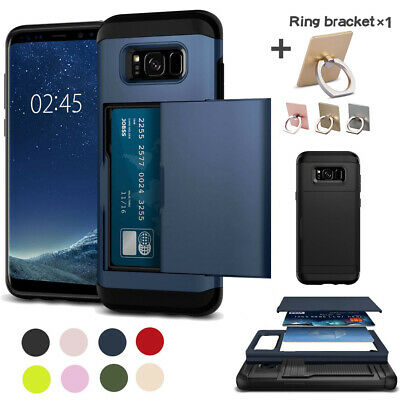 Armor Case Cover Slide Card Slots Hold For Samsung Note 9 8 5 4 S9 S8 S7 S6 Edge