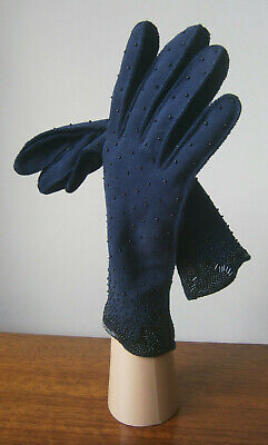 VINTAGE 1950s 50s MIDNIGHT BLUE BEADED WRIST LENGTH STRETCH COTTON GLOVES 7.5