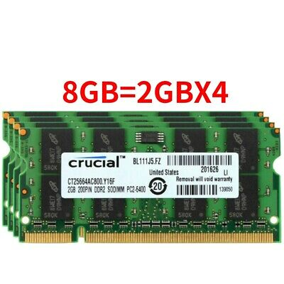 For Crucial 8GB 2GBX4 DDR2 800Mhz PC2-6400S 2RX8 200Pin SO-DIMM Laptop Memory