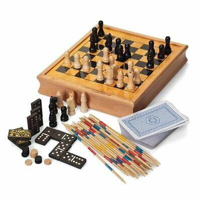 Holz Traditionell Retro Vintage Games Compendium - Familie Spiele Verpackt