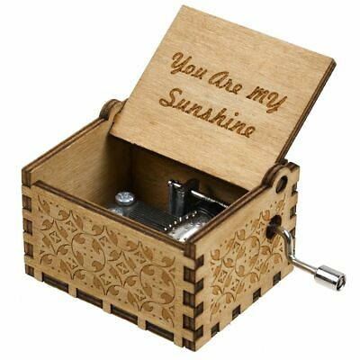 Antique Wood Music Box Hand Cranked Musical Case Retro Gift You Are My Sunshine