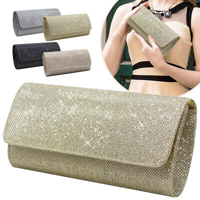 Womens Clutch Bags Ladies Sparkly Bridal Bridesmaid Party Prom Evening Hangbags