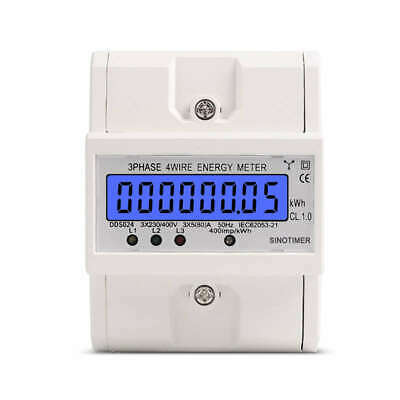 1X(Sinotimer Dds024 Three-Phase Backlight Display Household Rail Type Meter 7A9)