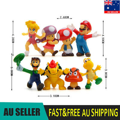 Super Mario 8 PCS Action Figure Kids Toys Cake Toppers Luigi Brower Toad Peach