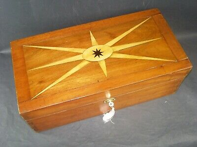 Antique 19 Inch Document Box Mahogany Working Lock & Key 1890 Ebony Star Center