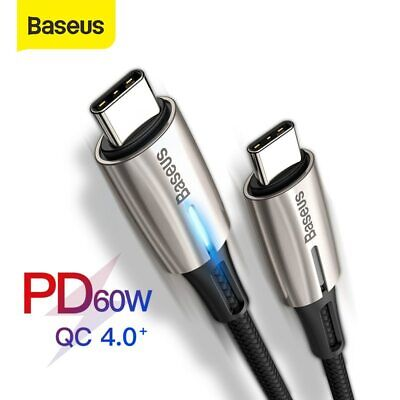 Baseus USB Type C to Type C Cable PD2.0 60W 3A Quick Charge for Samsung Macbook