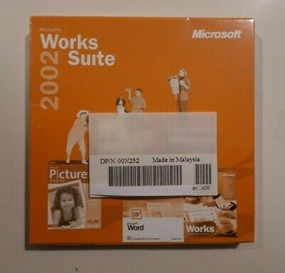 Microsoft works suite 2002 new never used office windows