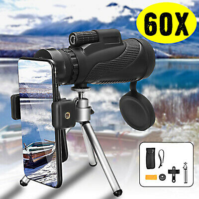 40x60 HD Zoom Monocular BK4 Telescope Night Vision + Tripod For Mobile Phone