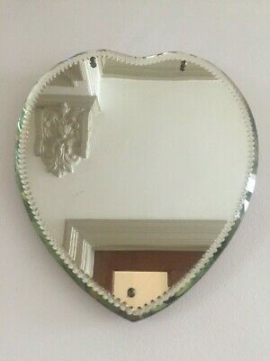Antique Frameless Heart Wall / Easel Strut Mirror Cut Bevelled Edges 28cm m240