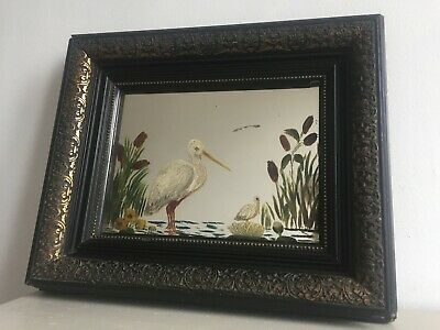 Antique Vintage Hand Painted Stork Bird Wall Mirror Painting Black Frame m241