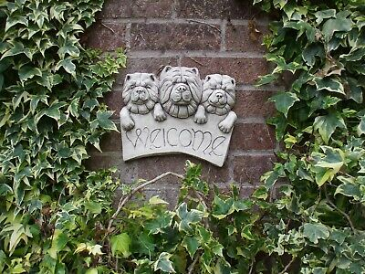 Large Stone Dogs Wall Welcome Plaque Sculpture Of3  Chow Chow Dogs