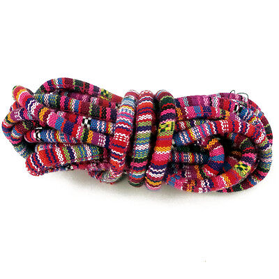 2m of Bright Pink Rope Cloth Ethnic Cord 4mm Jewellery Thread Thong - ET37