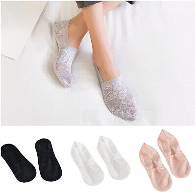 Womens Lace Socks Boat Invisible Anti-Skid Low Cut No-show Non-Slip Liner Hot Sp
