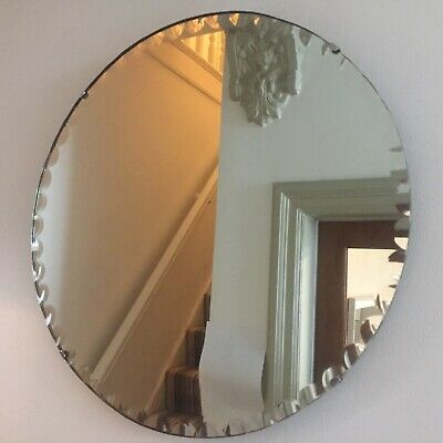 Round Vintage Frameless Wall Mirror Rare Bevelled Edges Antique 45cm m243