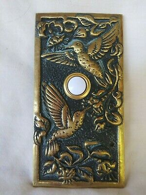 Vintage Brass Hummingbird doorbell Plate Made in Mexico