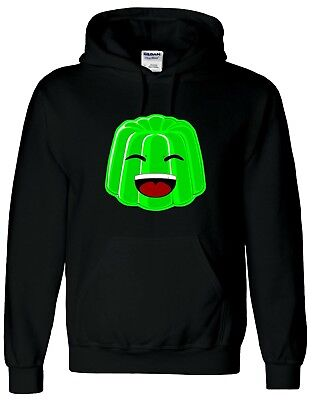 Green Jelly Face Kids Black Hoodie Gaming Gamer Youtuber Fan Size L 9-11 SALE!!
