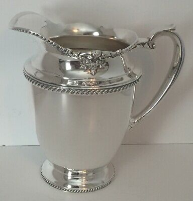 Community Georgian Silver Plated Water Pitcher Ice Lip 0597 Floral