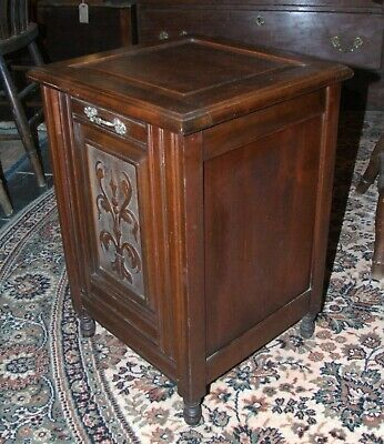 Antique Victorian carved mahogany PURDONIUM coal scuttle box & liner