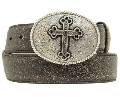 Nocona Womens Distressed Cracked Leather Belt With Oval Cross Buckle