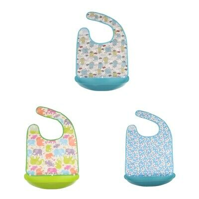3 Waterproof Adult Bibs with Food Catcher Pocket Mealtime Clothing Protector