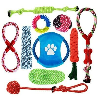 10X(Dog Rope Toys,10 Pack Puppy Chew Toys Set Dog Cotton Rope Knot And Teet 3E6)