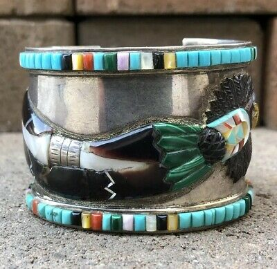336d45961d0 Old Pawn Zuin Navajo Kachina Dancer Multi Stone Inlay Wide Cuff Bracelet