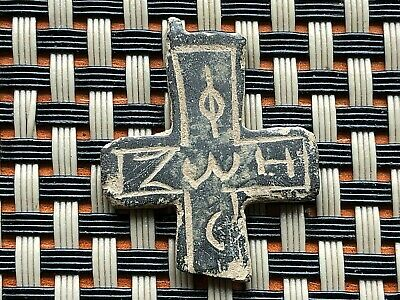 Ancient Byzantine Medieval Bronze Cross With Inscriptions Very Rare