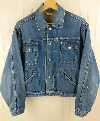 VTG 60s 70s JC Penney Ranchcraft Denim Jacket 40 M Selvedge USA Snap Thrash Flaw