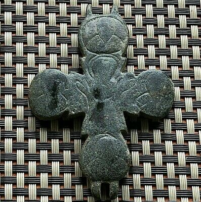 Ancient Byzantine Medieval Bronze Reliquary Enkolpion Cross 1000-1200 Ad.