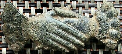 Huge Ancient Roman Military Bronze Belt Mount Fittings Clasped Hands 200-500 Ad.