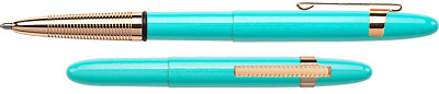Fisher Space Pen - Bullet Pen w/clip- Tahitian Blue Gold Grip - NEW 400TBL-glgCL