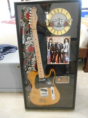 Guns and Roses autographed Fender Squire guitar all band members 2008