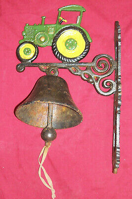 Old Cast Iron Farm Tractor Porch Wall Mount Barn Ranch Dinner Vintage Alarm Bell