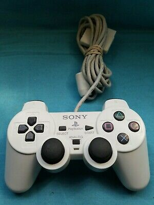 RARE Official Sony Playstation 2 Dualshock Controller (White) Tested. (PS2)