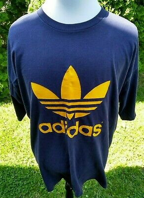 1df2590a76a82 VTG ADIDAS TREFOIL Logo T-Shirt Double Sided Retro 3 Stripes - Made USA - XL