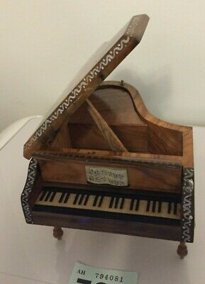 Vintage Grand Piano Reuge Swiss Movement Wooden Hand Painted Music Box
