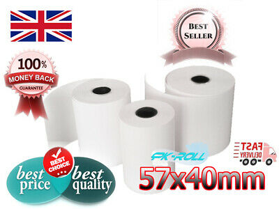 57x40mm PDQ TILL CREDIT CARD PAPER ROLLS FOR,JUST EAT,HUNGRY HOUSE,INGENICO