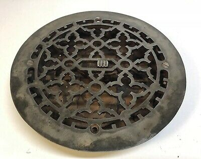 "Vintage Cast Iron Floor Grate 9 1/2"" Round Heat Grate Register w/Louvers 8"" Duct"