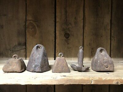 Lot Of 5 Vintage Cast Iron Decoy Weights Old Decoy Go With