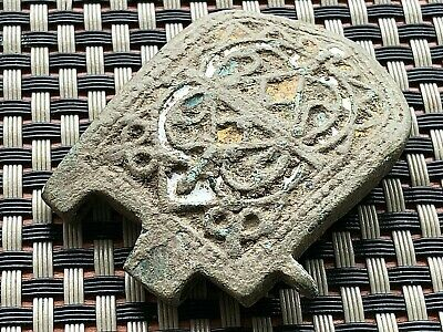 Ancient Byzantine Medieval Enamelled Bronze Strap End Circa 800-1200 Ad