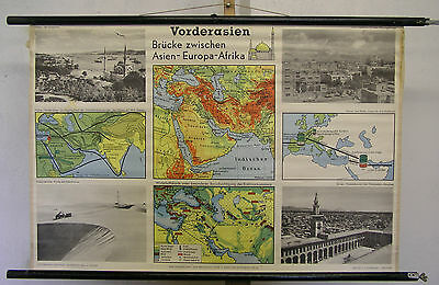 Schulwandkarte Wall Map Turkey Bosphorus Asia Minor Card 100x66c Map Card ~ 1960