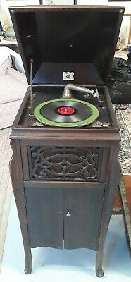 Vintage Antique Domestic Talking Machine Model 7-19 Tall Wind Up Record Player
