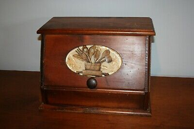 Vtg Rustic Country Wood Bread Box Kitchen Utensils Tools Acrylic Insert Relief
