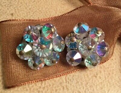 Vintage Art Deco 30s Aurora Borealis Faceted Crystal cluster Clip on Earrings