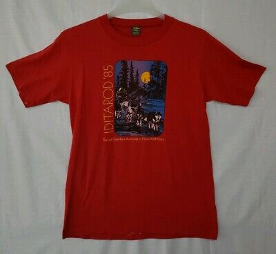 Vtg JERZEES Iditarod 1985 Anchorage to Nome Red 50/50 T-Shirt Sz M Sled Dogs (PB